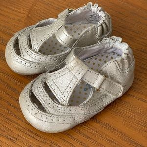Silver Genuine Leather Baby Shoes, T-Strap